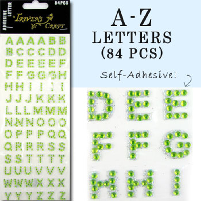 10mm (3/8 in.) Lime Green Alphabet Letters, Flatback Rhinestones (84 pcs) Self-Adhesive - Easy Peel Strips