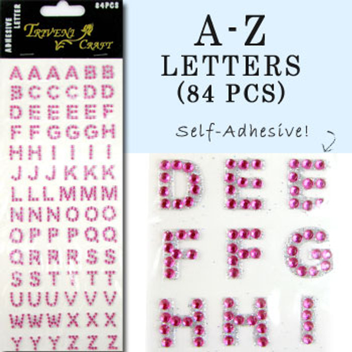 10mm (3/8 in.) Fuschia Alphabet Letters, Flatback Rhinestones (84 pcs) Self-Adhesive - Easy Peel Strips