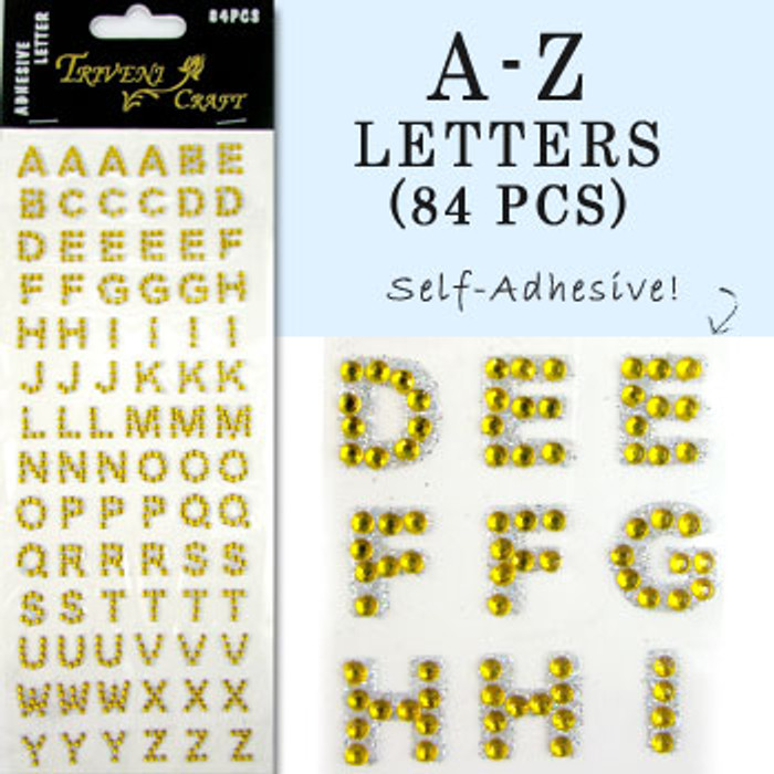 10mm (3/8 in.) Yellow Alphabet Letters, Flatback Rhinestones (84 pcs) Self-Adhesive - Easy Peel Strips