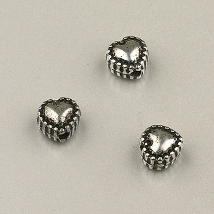 SP0050 - 6mm Beaded Heart Silver Plate (pkg of 50)