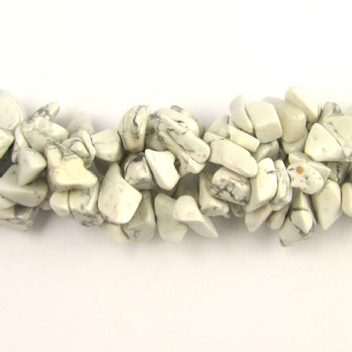 SPSC045 - White Hoplite Semi-Precious Stone Chip Beads (36 in. strand)
