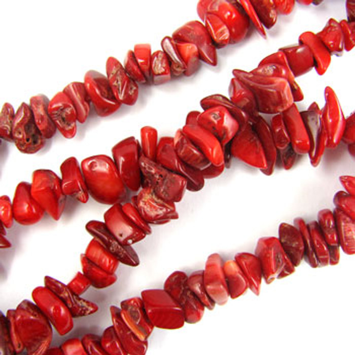 SPSC046 - Red Coral Chip Beads, Dyed (36 in. strand)