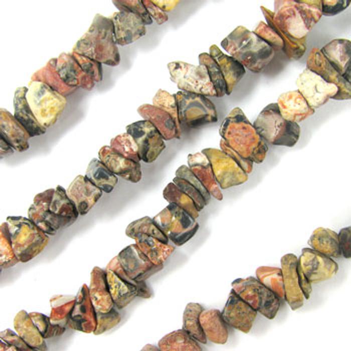 SPSC053 - Leopard Skin Jasper Semi-Precious Stone Chip Beads (36 in. strand)