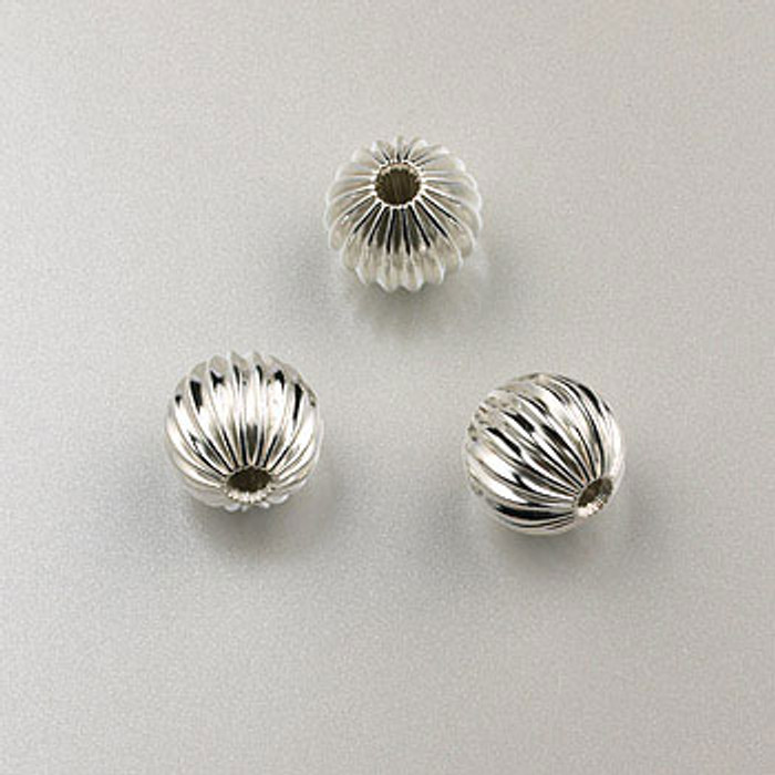 SS0022 - 8mm Corrugated Round Bead, Sterling Silver (pkg of 10)