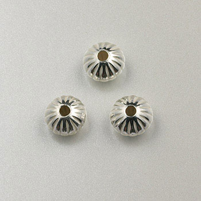 SS0026 - 6mm Corrugated Dome Rondelle, Sterling Silver (pkg of 25)