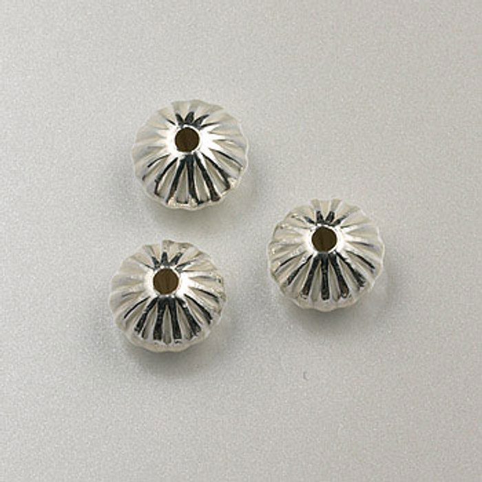 SS0027 - 8mm Corrugated Dome Rondelle, Sterling Silver (pkg of 25)