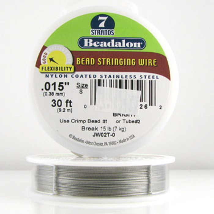 STR0007 - Bright, .015 in., Beadalon 7-Strand Nylon Coated Stainless Steel