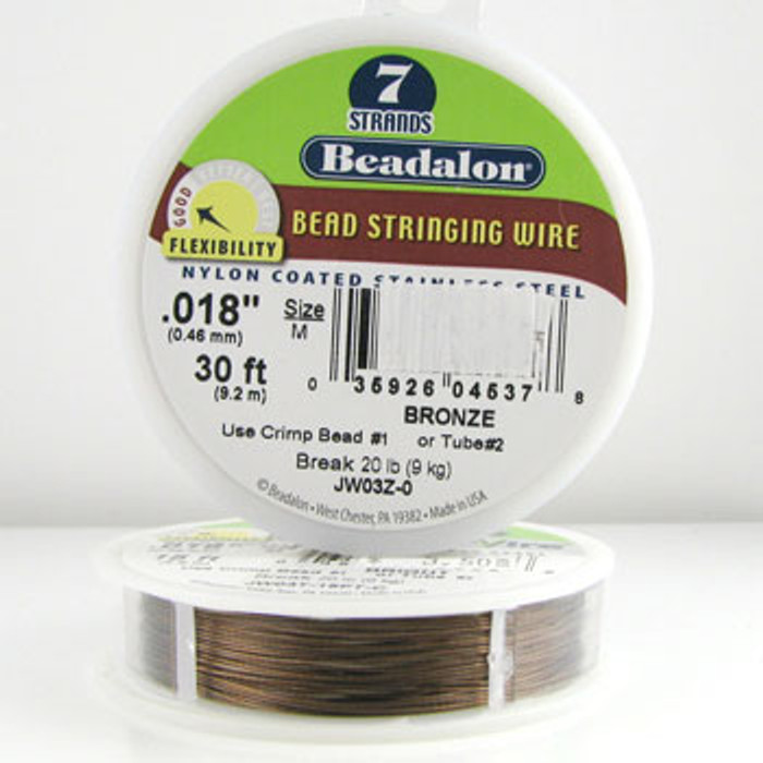 STR0017 - Bronze, .018 in., Beadalon 7-Strand Nylon Coated Stainless Steel - JW03Z00 (30 ft spool)