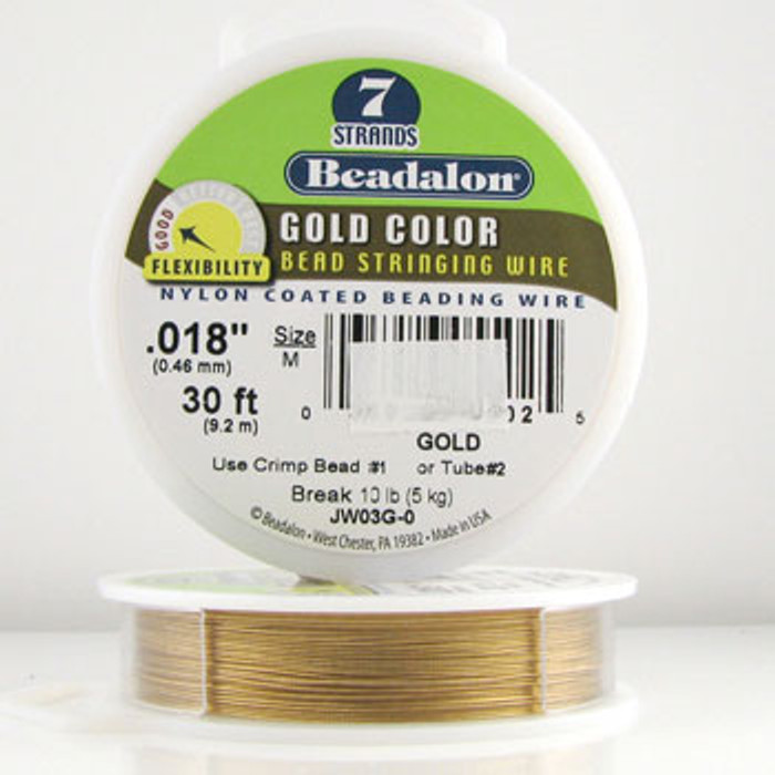 STR0019 - Gold, .018 in., Beadalon 7-Strand Gold Color Nylon Coated Beading Wire - JW03G00 (30 ft spool)