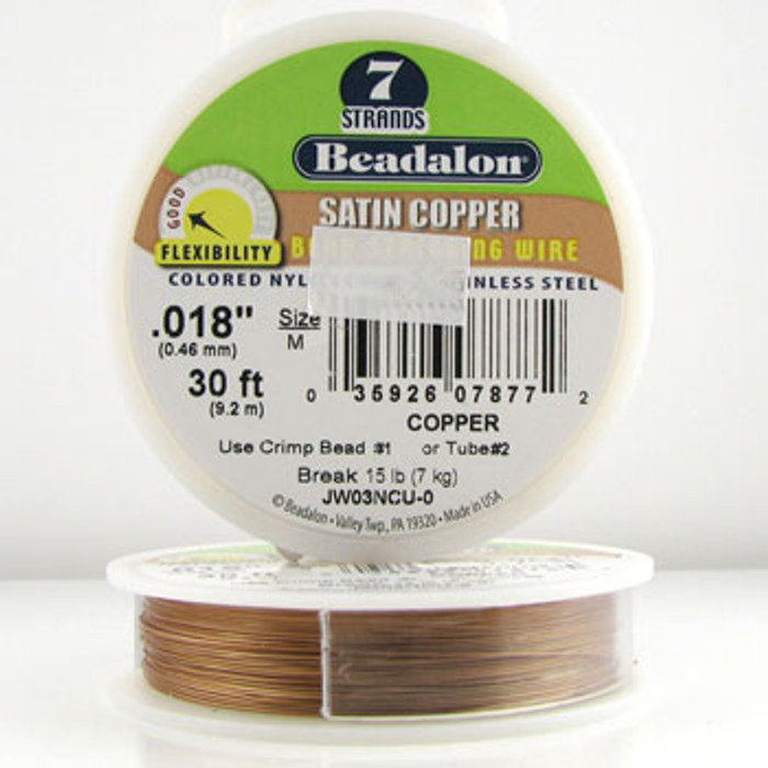 STR0023 - Copper, .018 in., Beadalon 7-Strand Satin Colored Nylon Coated Stainless Steel - JW03NCU00 (30 ft spool)