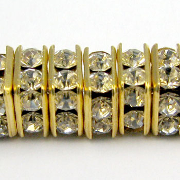 SWR007 - Swarovski Squaredelles, Gold Plated, Clear Crystal (36 Pieces)