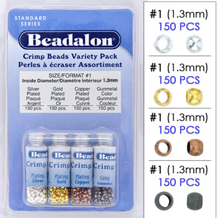 Beadalon Crimp Bead Variety Pack, Silver/Gold/Copper/Gunmetal Plated, Size #1 (600 pcs)