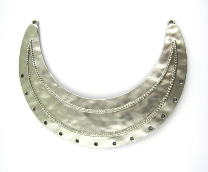 Satin Rhodium 84mm x 26mm Curved Pendant 2 Loop w/13 Holes