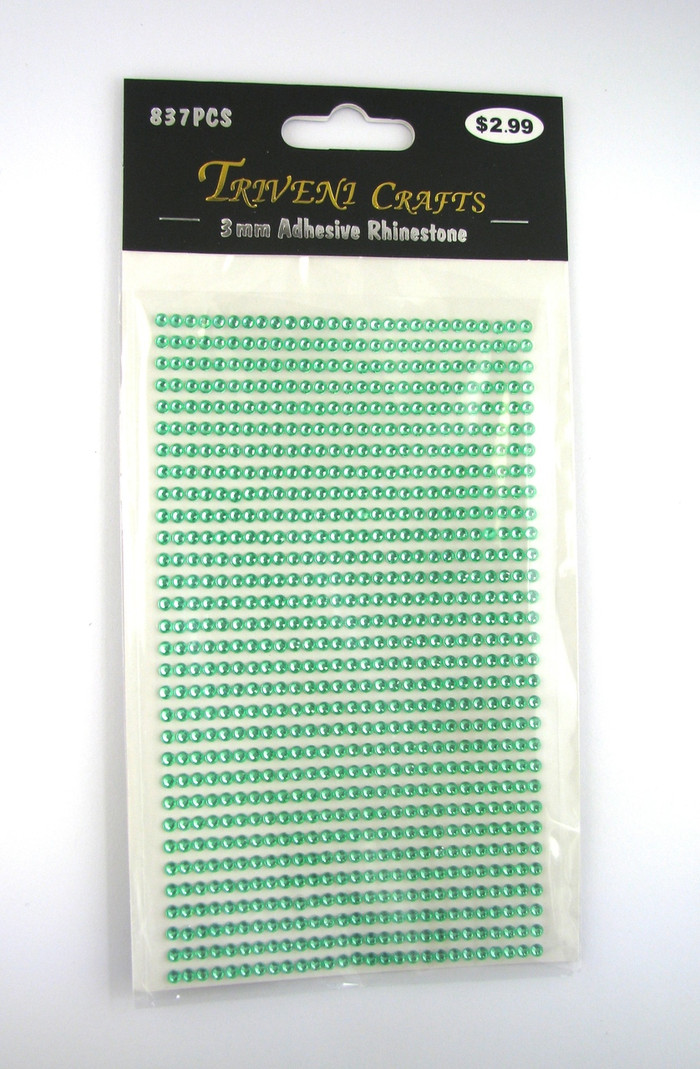 3mm Light Green Flatback Rhinestones (837 pcs) Self-Adhesive - Easy Peel Strips