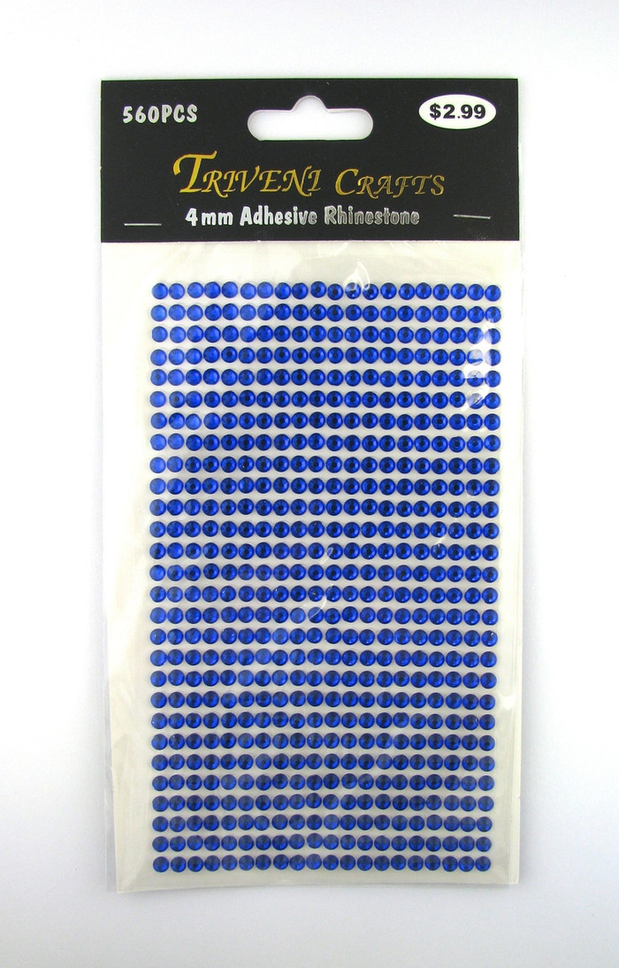 4mm Dark Blue Flatback Rhinestones (560 pcs) Self-Adhesive - Easy Peel Strips