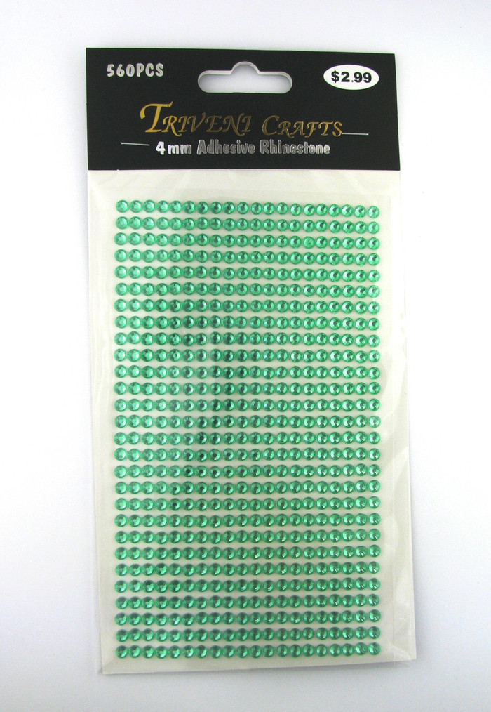 4mm Light Green Flatback Rhinestones (560 pcs) Self-Adhesive - Easy Peel Strips