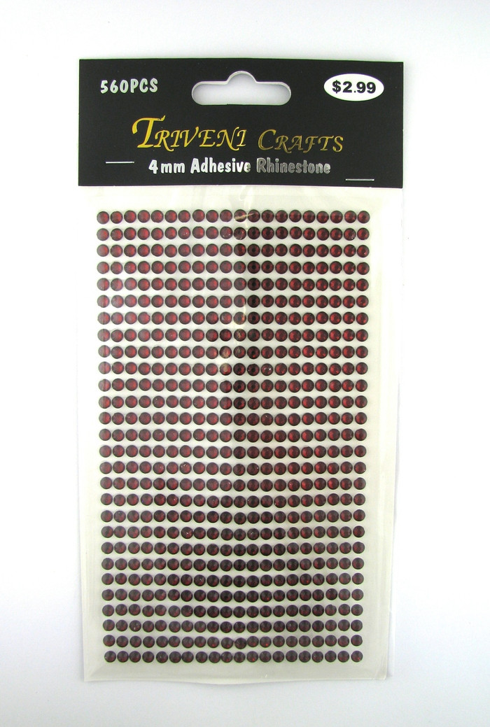 4mm Garnet Flatback Rhinestones (560 pcs) Self-Adhesive - Easy Peel Strips