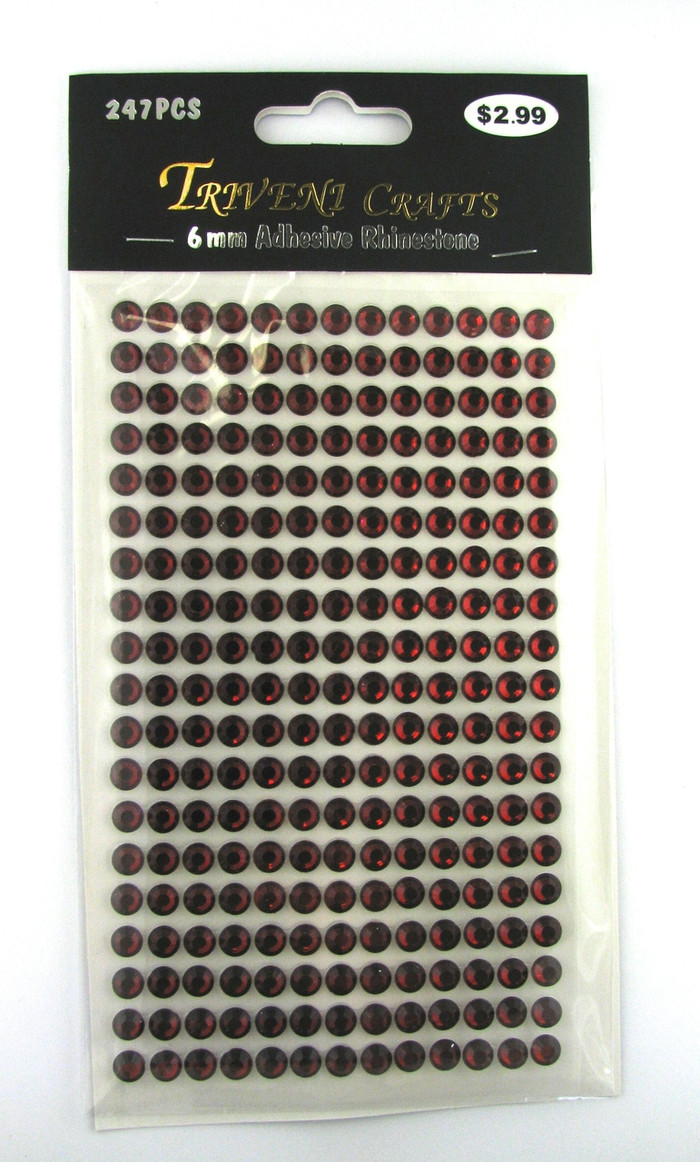 6mm Garnet Flatback Rhinestones (247 pcs) Self-Adhesive - Easy Peel Strips