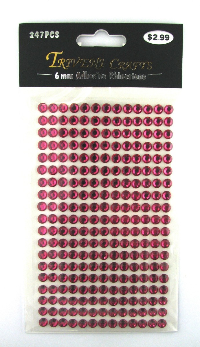 6mm Fuchsia Flatback Rhinestones (247 pcs) Self-Adhesive - Easy Peel Strips