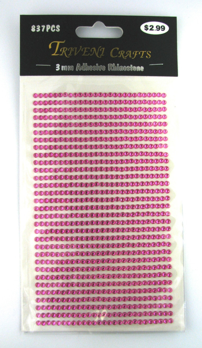 3mm Hot Pink Flatback Rhinestones (837 pcs) Self-Adhesive - Easy Peel Strips
