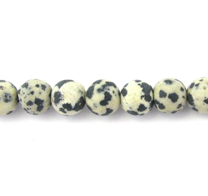 SPS0077 - Matte Dalmatian Jasper, 8mm Round (16 in strand)