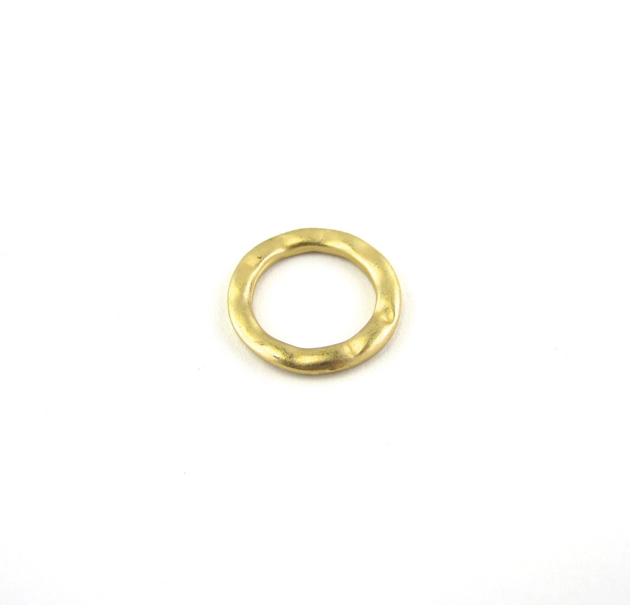 Satin Hamilton Gold 15mm Round Soldered Textured Ring (Sold by the Piece)