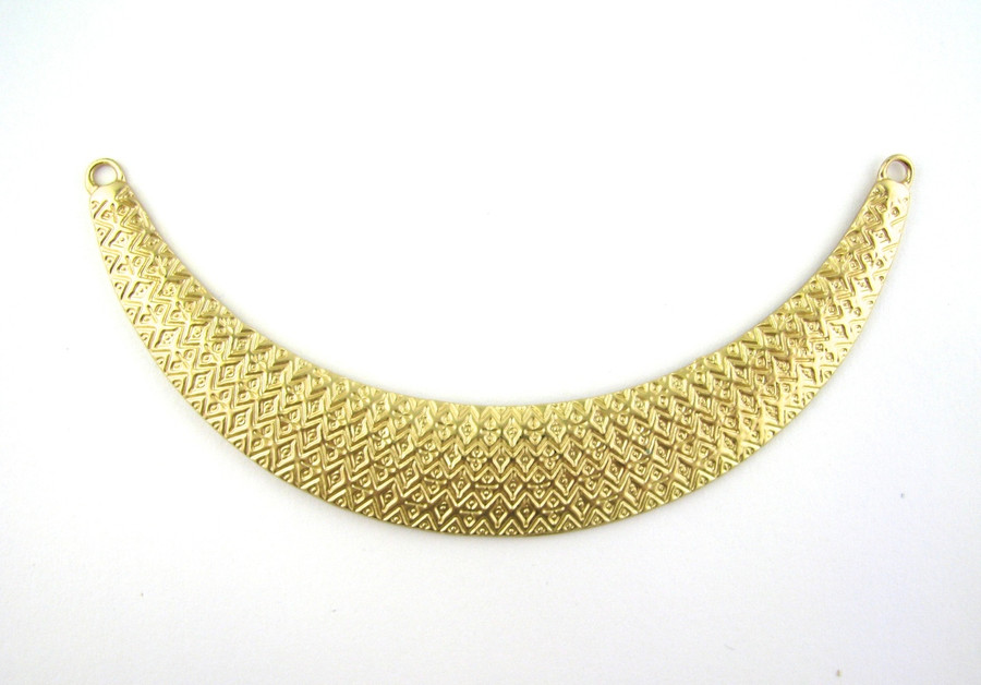 Satin Hamilton Gold 3.5 inch x 15mm Textured Pendant (3mm Holes) (Sold by the Piece)