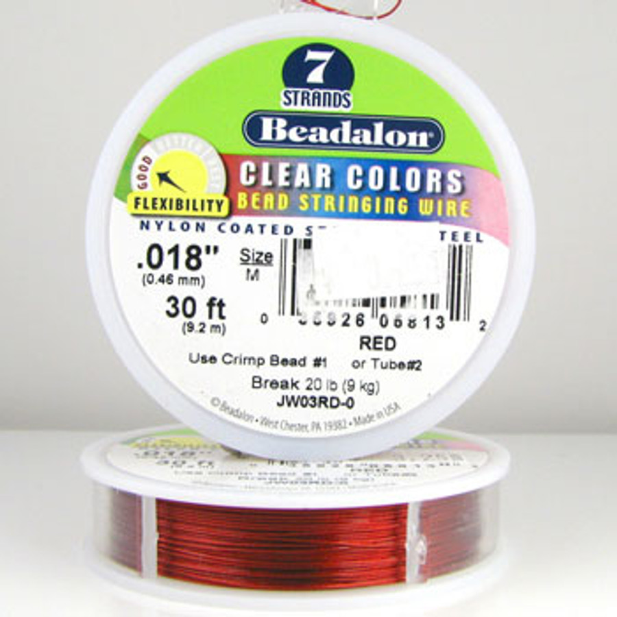 STR0005 - Red, .018 in., Beadalon 7-Strand Clear Colors - JW03RD00 (30 ft spool)