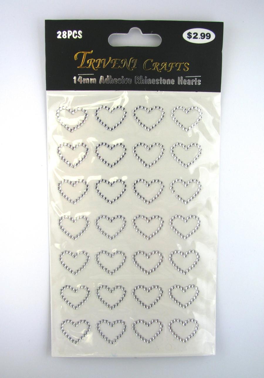 14mm Clear Hearts, Flatback Rhinestones (28 pcs) Self-Adhesive - Easy Peel Strips