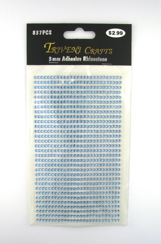 3mm Light Blue Flatback Rhinestones (837 pcs) Self-Adhesive - Easy Peel Strips