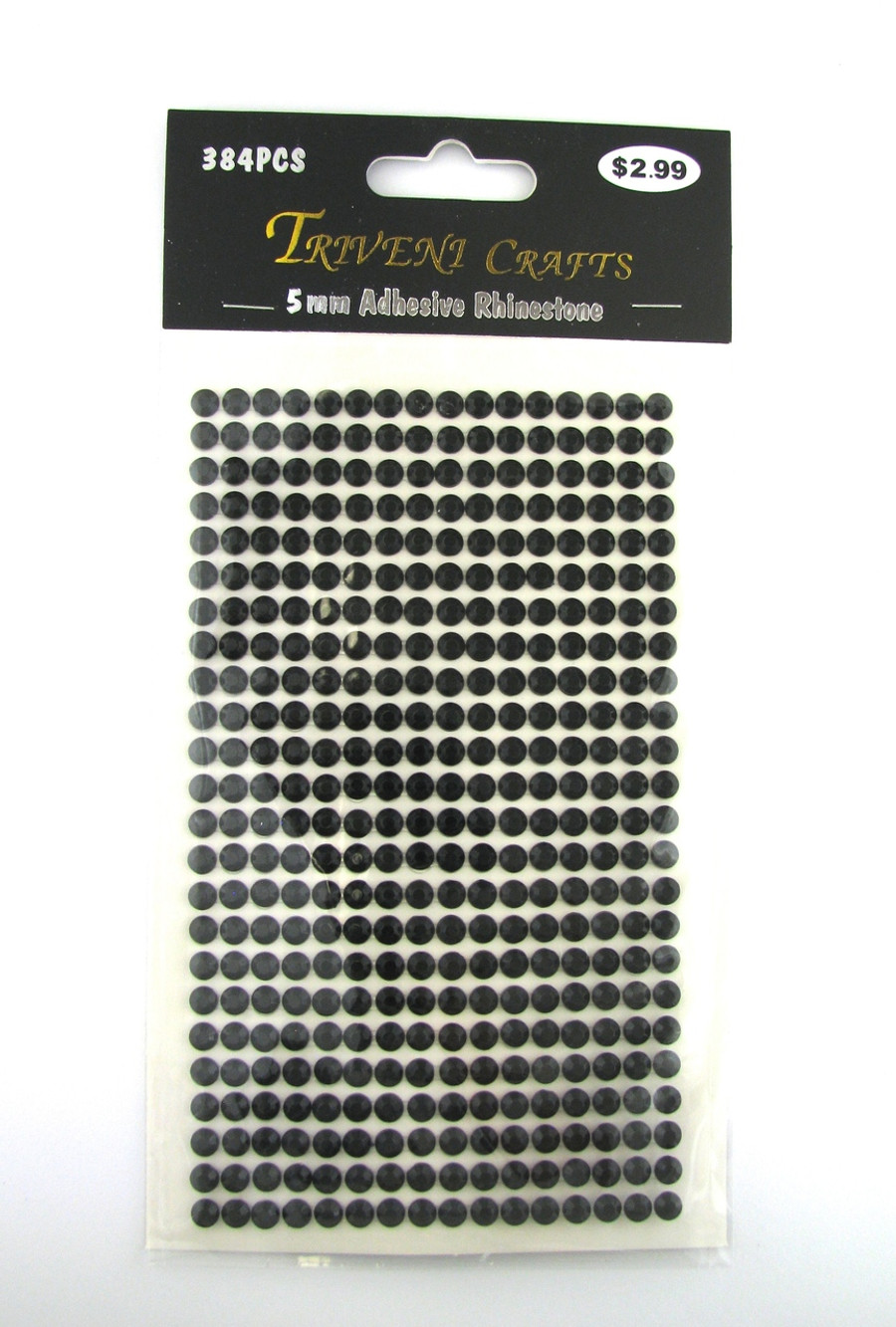5mm Black Flatback Rhinestones (384 pcs) Self-Adhesive - Easy Peel Strips