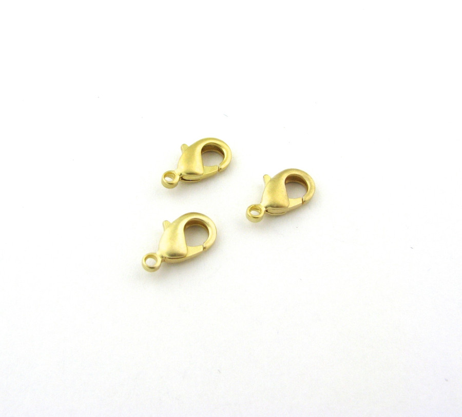 SHGP013 - 12mm Lobster Claw Clasp, Satin Hamilton Gold Plated (pkg of 10)