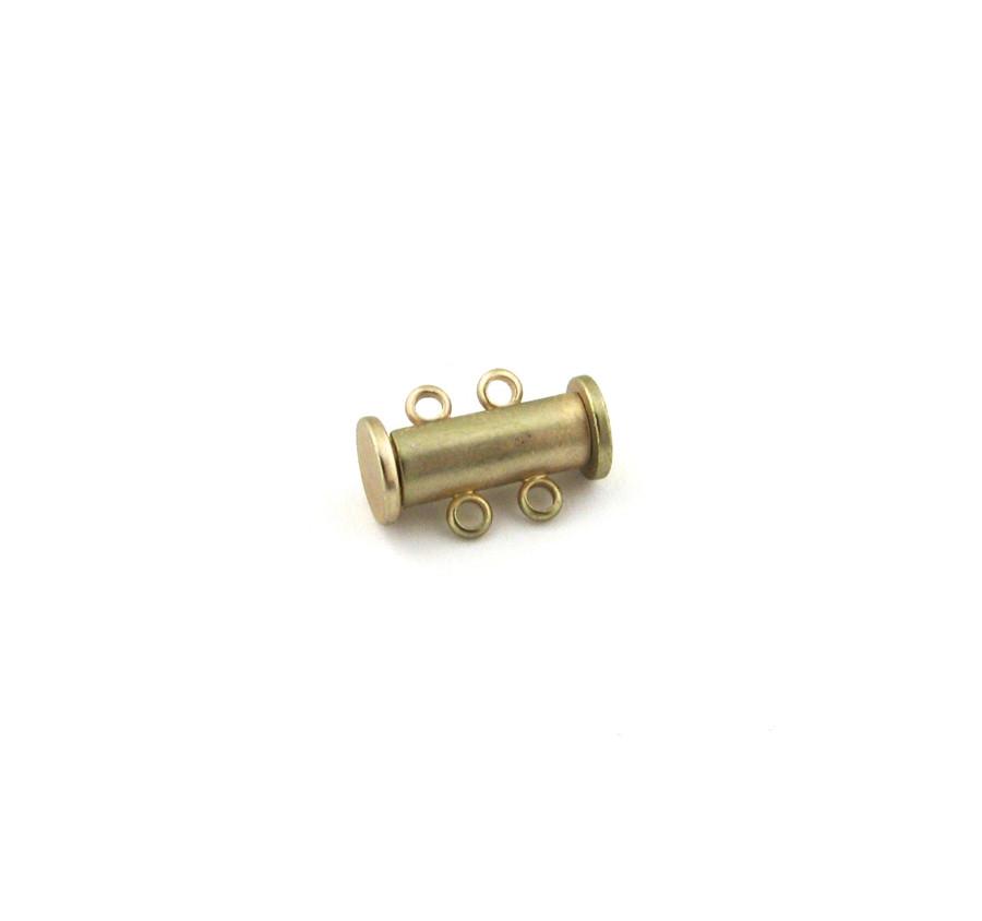 SHGP016 - 16mm 2-Strand Magnetic Tube Clasp, Satin Hamilton Gold Plated (each)