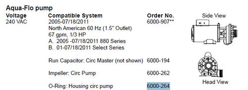 6000-264 O-Ring: Housing Circ Pump