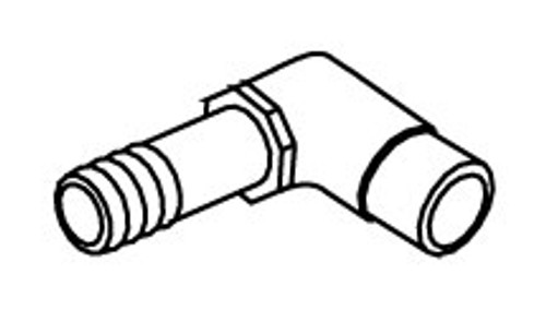 "6540-085 PVC Elbow 90 Degrees 0.5"" Spigot x 0.75"" Barb (long neck)"