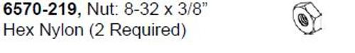 """6570-219 Nut: 8-32 x 3/8"""" Hex Nylon"""