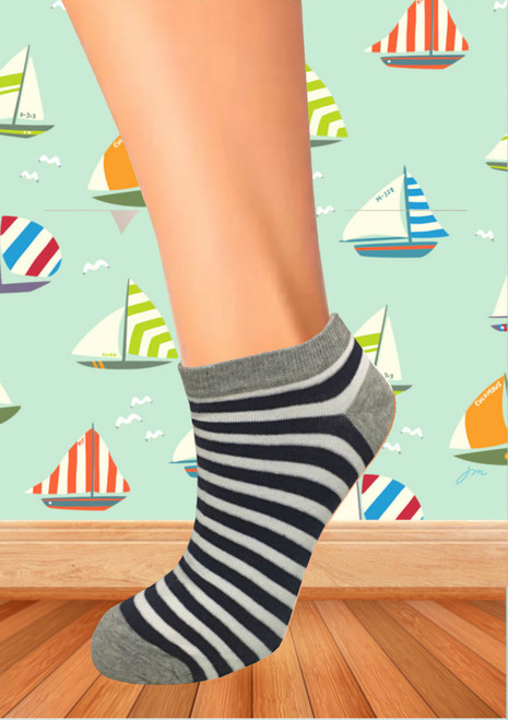 Marina Classics - Blue Ankle and White Thick Stripe Socks