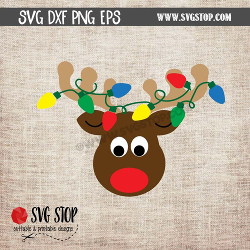 Reindeer Face With Christmas Lights Clipart Cut File Svg