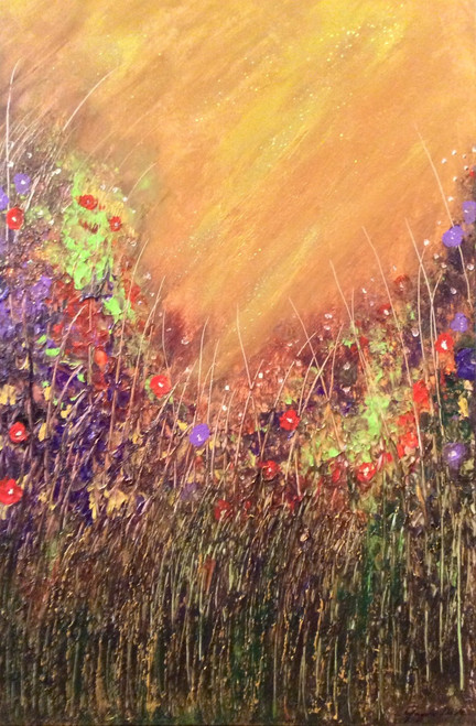 Spring thoughts #1 is an original mixed media painting on canvas. 24 x 36