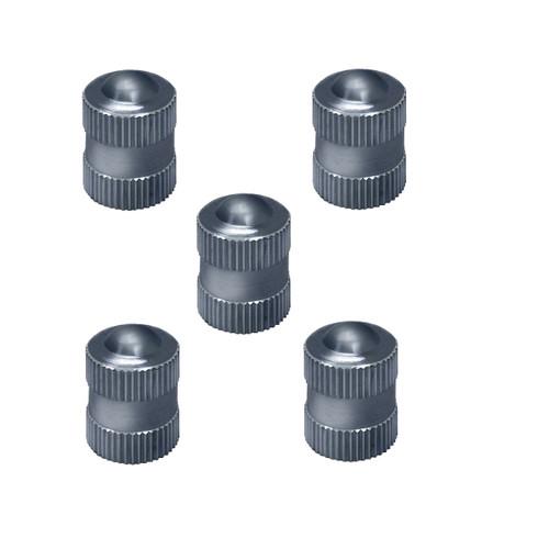 Blackjack Chrome Metal 5-Pc Tire Valve Stem Cap W/Seal Set