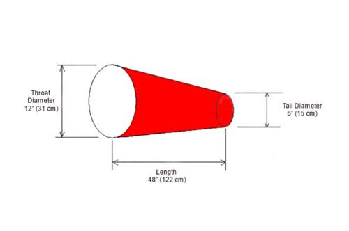 """24"""" Diameter x 96"""" Long Windsock Diagram"""