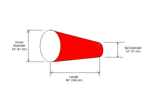 "24"" Diameter x 96"" Long Windsock Diagram"
