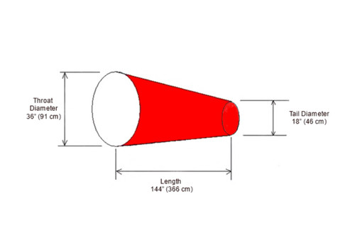 "Diagram of 36"" x 144"" Long Windsock"