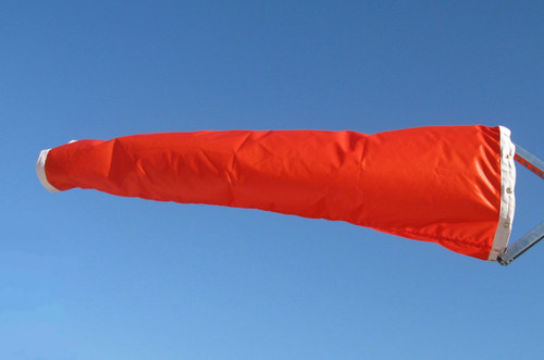 "18"" diameter x 96"" long vinyl windsock for commercial, industrial and aviation industries. Available in Vinyl (WC18V), Nylon (WC18N) and Canvas (WC18D)"