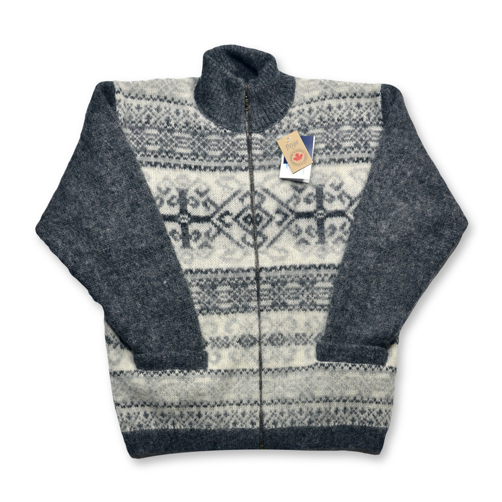 Icelandic Wool Men's Zipper Turtleneck Cardigan (Dark Grey / Off-White) by Freyja