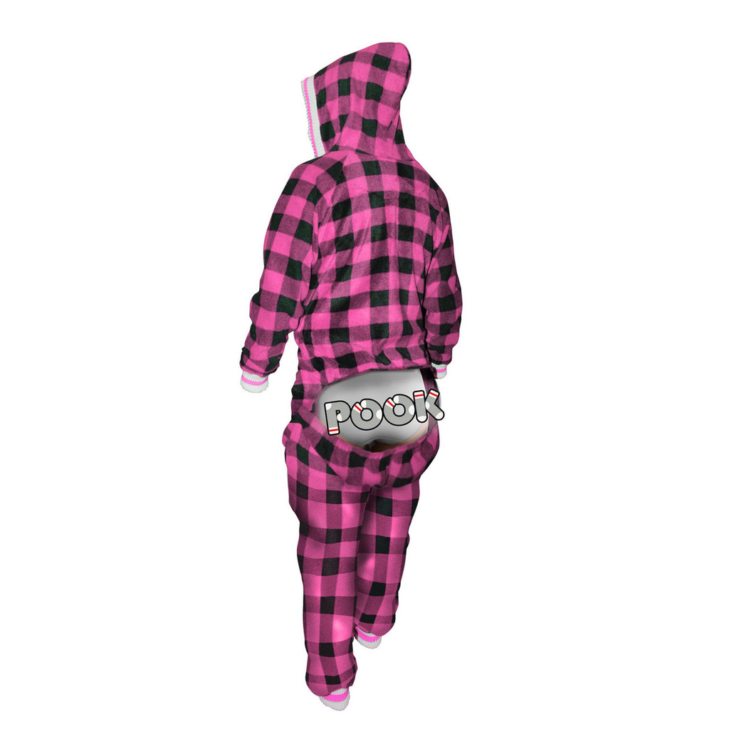 Onesie / Onezy (Adult Pink Plaid) by Pook
