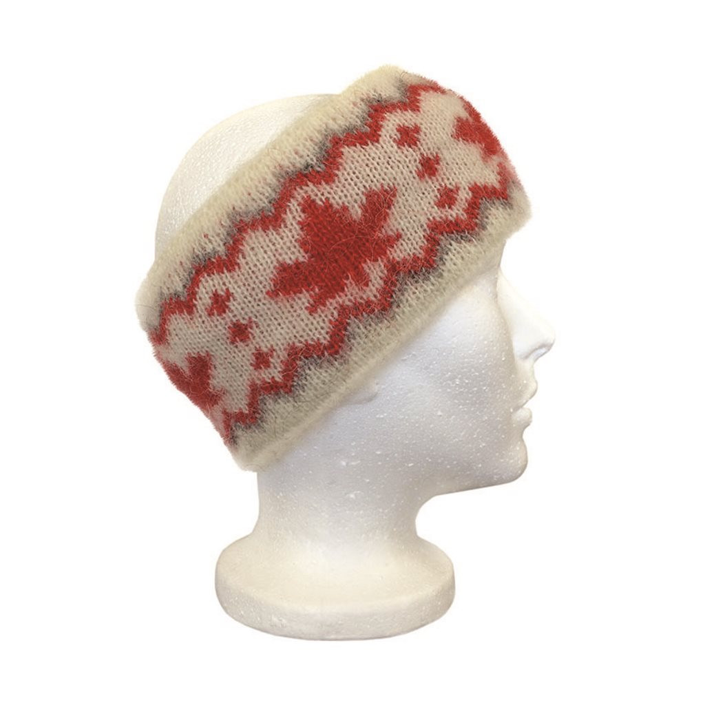 Icelandic Wool Unisex Maple Leaf Headband (Cream / Red) by Freyja