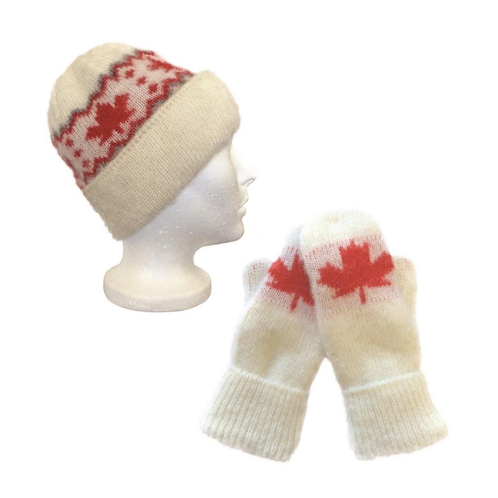Icelandic Wool Unisex Maple Leaf Double-Cuff Toque / Mittens Set (Cream / Red) by Freyja