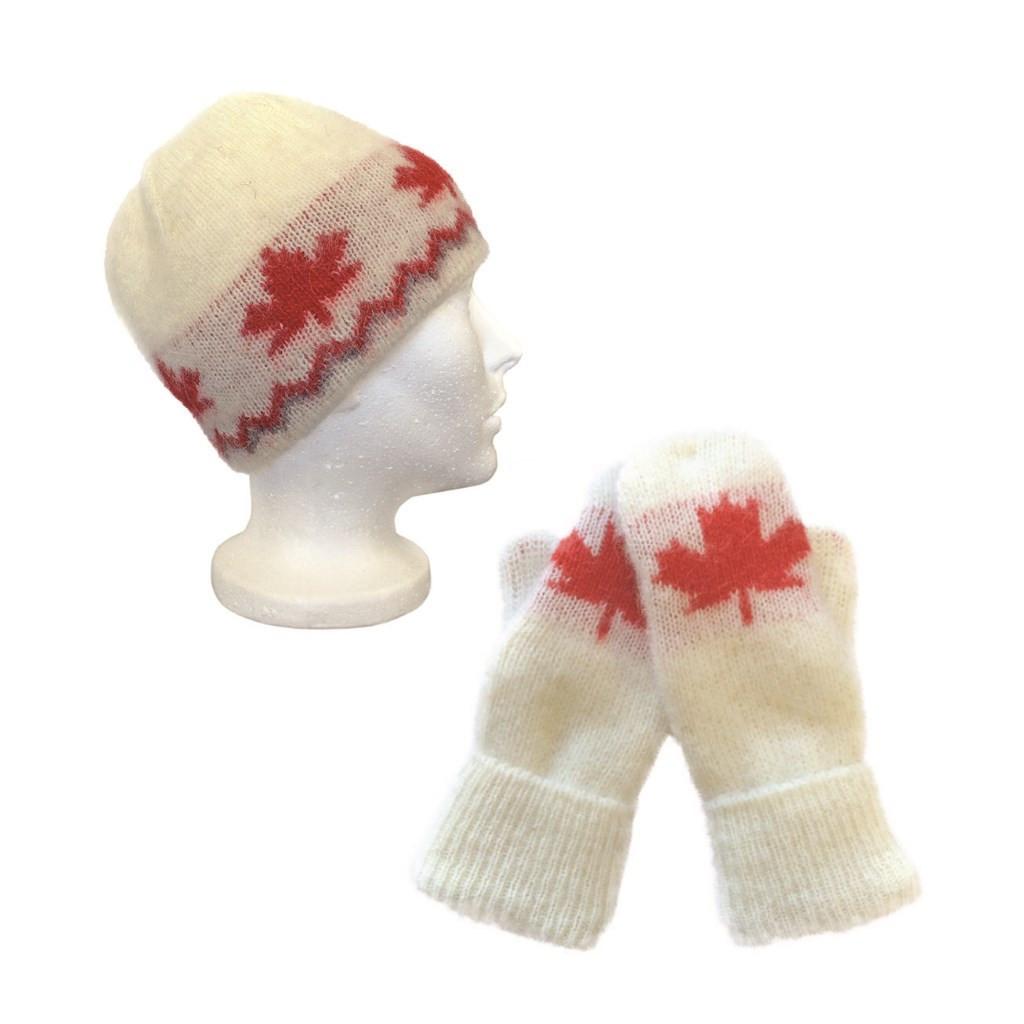 Icelandic Wool Unisex Maple Leaf Cap Toque / Mittens Set (Cream / Red) by Freyja
