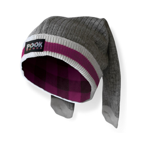 Toque (Grey / Pink Plaid Reversible) by Pook - Ships in Canada Only